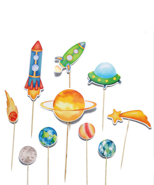 Cake/Cupcake Toppers (10pcs) - Colorful Outer Space Themed