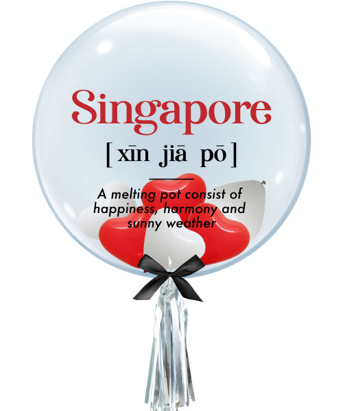 """[Together, Our Singapore Spirit] 24"""" Crystal Clear Bubble Balloon - Xin Jia Po, Melting Pot Singapore"""