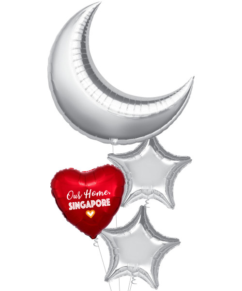 """[Together, Our Singapore Spirit] 35"""" Giant Crescent & Stars Balloons Bouquet -  Our Home, Singapore"""