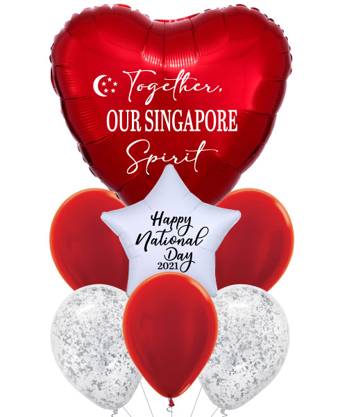 """[Together, Our Singapore Spirit] 32"""" Giant Heart Balloons Bouquet - Happy National Day 2021"""