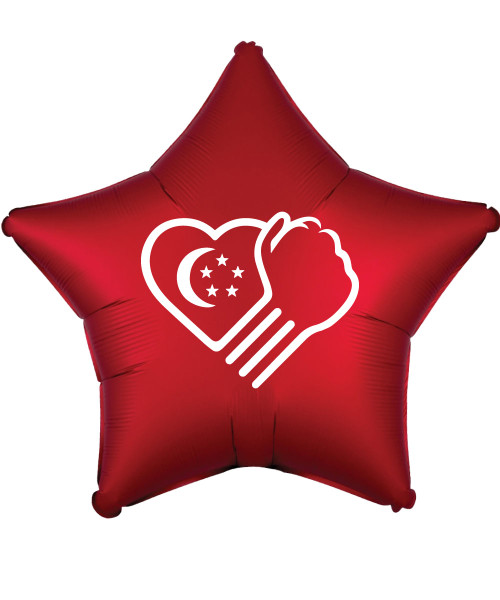 "[National Day 2020] 19"" A Strong Singapore Logo Satin Luxe Sangria Red Star Foil Balloon"
