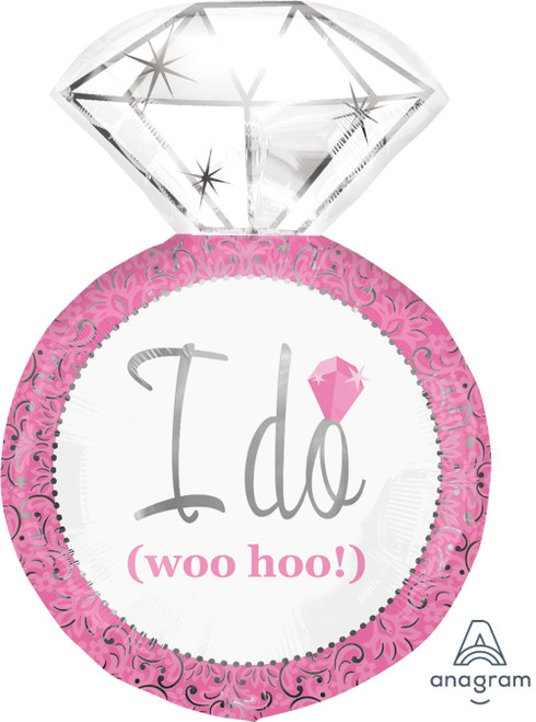 'I Do' Pink Wedding Engagement Ring Balloon (27inch)