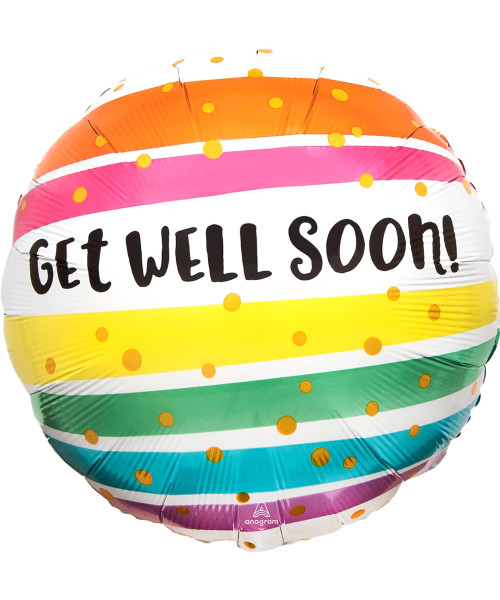 [Get Well Soon] Get Well Soon Bold Rainbow Stripes Foil Balloon (17inch)