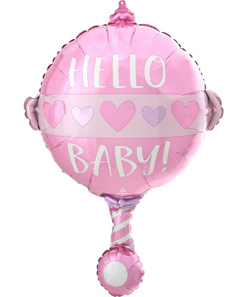 [Baby] Hello Baby Girl Rattle Foil Balloon (24inch)