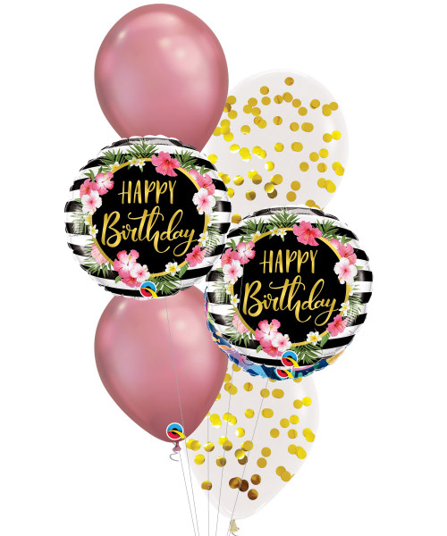 [Party] Birthday Hibiscus Stripes Chrome Mauve Balloons Bouquet