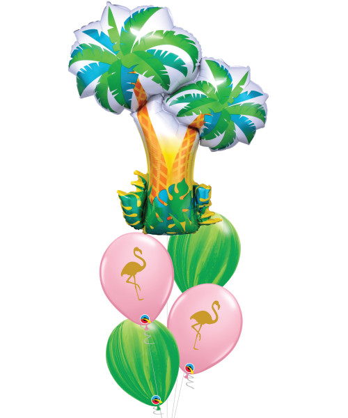 [Plant] Tropical Palm Trees Flamingo Leaf Marble Balloons Bouquet
