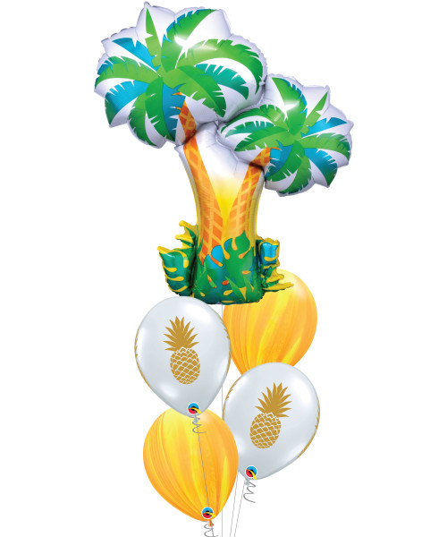 [Plant] Tropical Palm Trees Pineapple Lemon Marble Balloons Bouquet