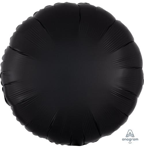 """17"""" Satin Luxe Round Foil Balloon - Onyx Black"""