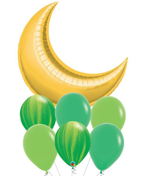 [Hari Raya Haji 2021] Crescent Moon Leaf Marble Balloons Bouquet