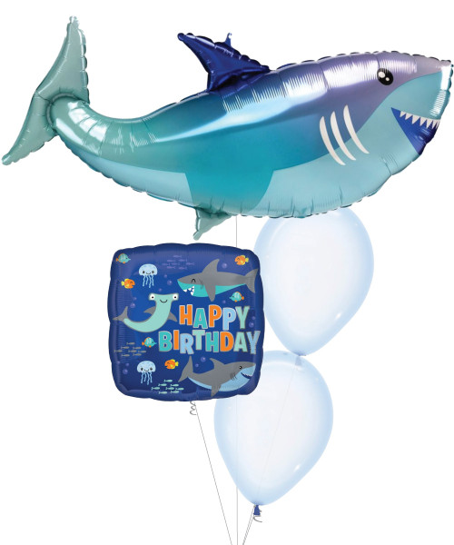 [Sea Creature] Baby Shark Happy Birthday Crystal Pastel Blue Balloons Bouquet