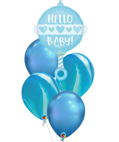 [Baby] Hello Baby Boy Rattle Chrome Marble Balloons Bouquet