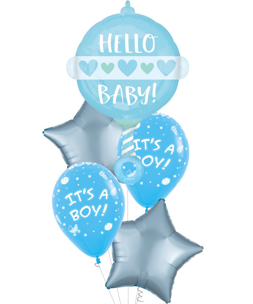 [Baby] Hello Baby Boy Rattle It's A Boy Balloons Bouquet