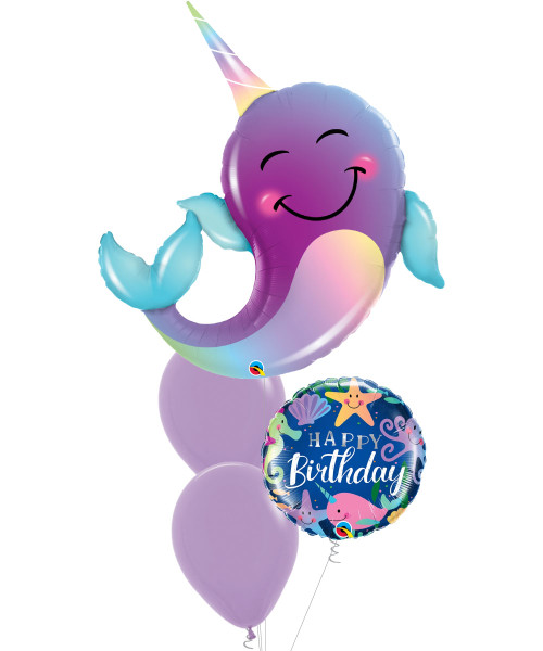 [Narwhal] Pastel Party Narwhal Birthday Fun Under The Sea Balloons Bouquet