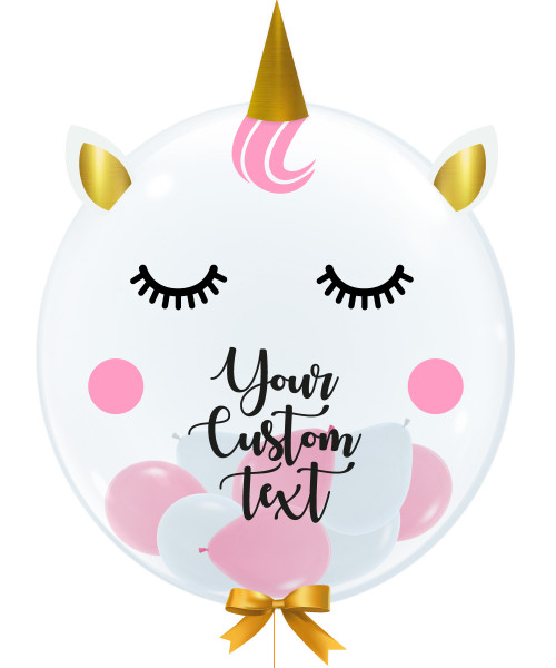 "24"" Personalised Crystal Clear Transparent Balloon - Dream like a Unicorn"