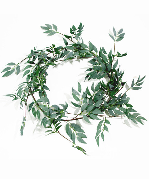 Artificial Willow Vine Leaves Garland (1.8meter) - Frosted Green