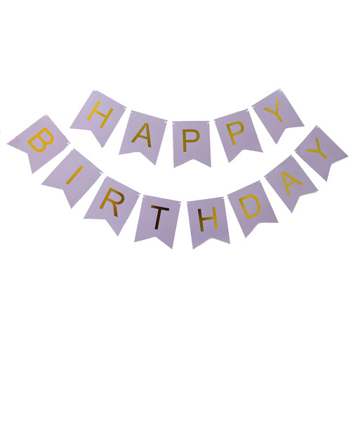 Classic Happy Birthday Bunting (2.5meter) - Lavender Purple