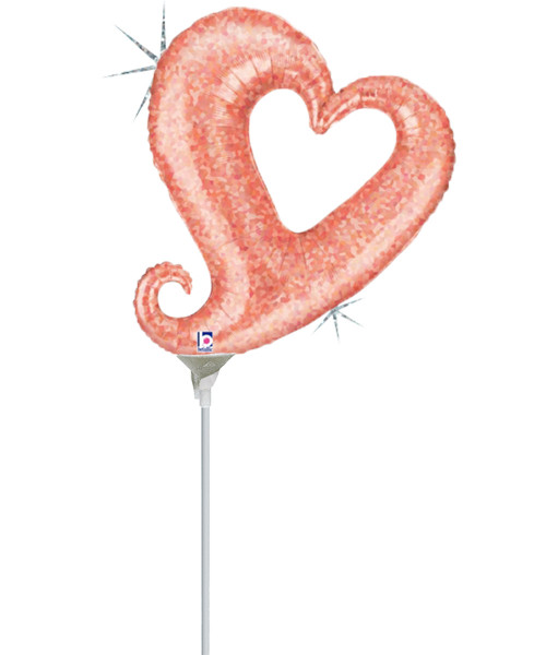 """[Love] 14"""" Chain of Hearts Foil Balloon -  Holographic Rose Gold"""