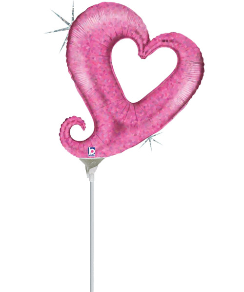 """[Love] 14"""" Chain of Hearts Foil Balloon - Holographic Hot Pink"""