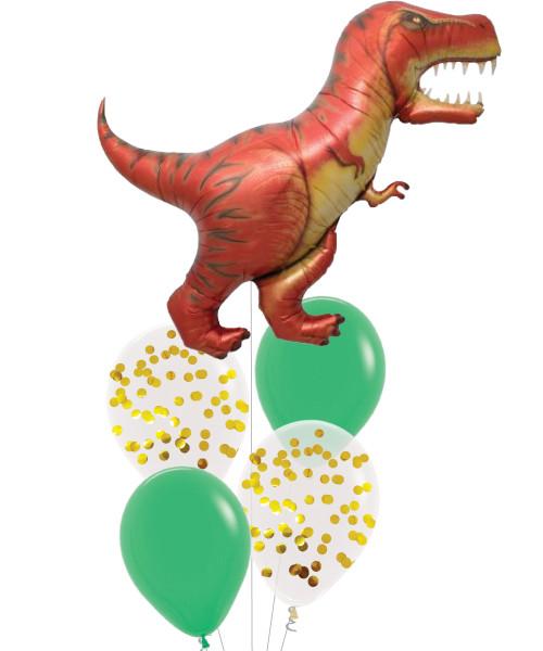 [Dinosaur] T-Rex Tropical Leaf Balloons Bouquet