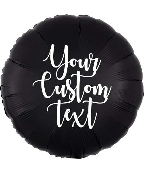 """18"""" Personalised Satin Luxe Round Foil Balloon - Onyx Black"""