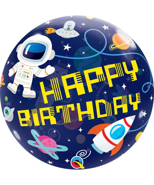 """[Ultra Clear Bubble] 22""""/56cm Birthday Outer Space Bubble Balloon"""