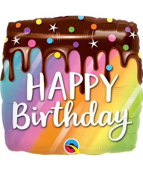 [Dessert] Birthday Rainbow Drip Cake Foil Balloon (18inch)