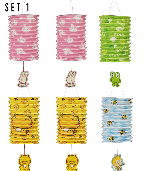 [Mid Autumn 月圆人团圆] Foldable Tanglung/Paper Lantern - oh-so-cute Animals Set 1 (6pcs Assorted Designs Lantern + 6pcs Lantern Stick + 1 pack of Candle)