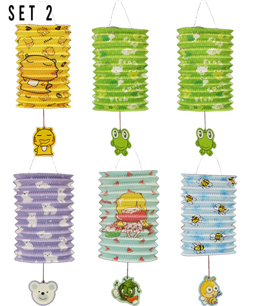 [Mid Autumn 月圆人团圆] Foldable Tanglung/Paper Lantern - oh-so-cute Animals Set 2 (6pcs Assorted Designs Lantern + 6pcs Lantern Stick + 1 pack of Candle)