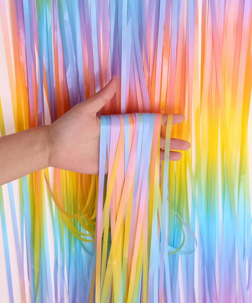 Streamer Curtain Fringe Backdrop (1meter x 2 meter) - Rainbow Macaron