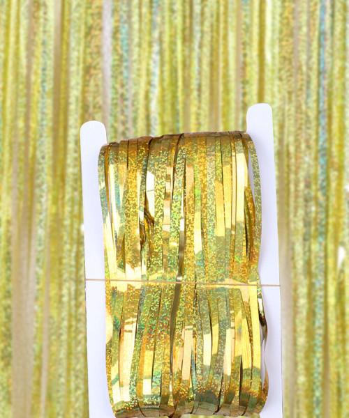 Streamer Curtain Fringe Backdrop (1meter x 2 meter) - Sparkling Gold