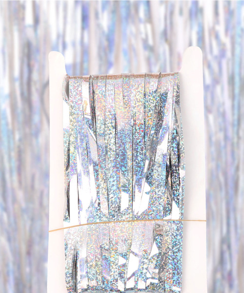 Streamer Curtain Fringe Backdrop (1meter x 2 meter) - Sparkling Silver