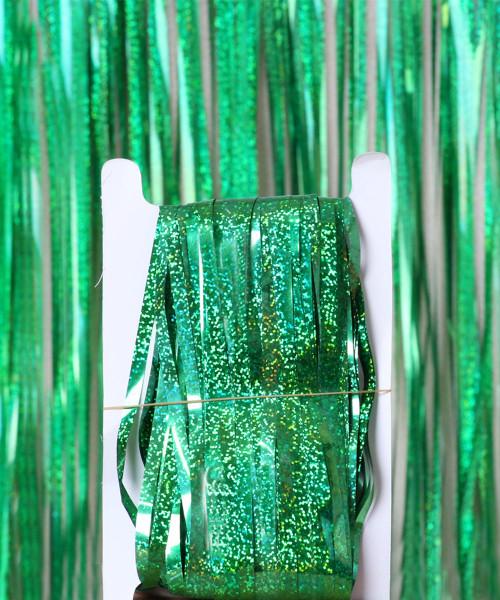 Streamer Curtain Fringe Backdrop (1meter x 2 meter) - Sparkling Green