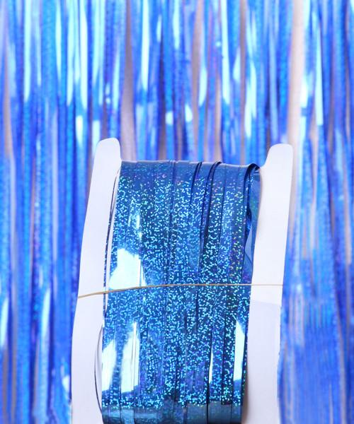 Streamer Curtain Fringe Backdrop (1meter x 2 meter) -  Sparkling Navy Blue