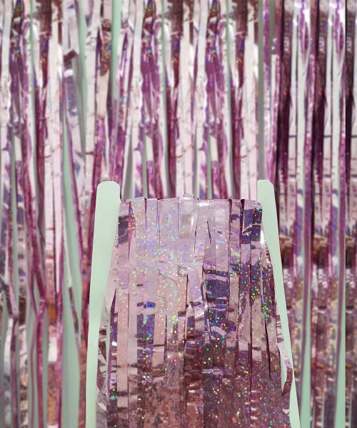 Streamer Curtain Fringe Backdrop (1meter x 2 meter) - Sparkling Pink
