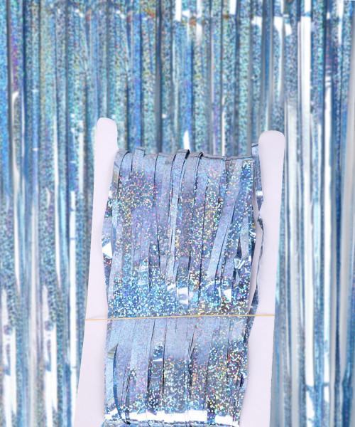 Streamer Curtain Fringe Backdrop (1meter x 2 meter) - Sparkling Pastel Blue