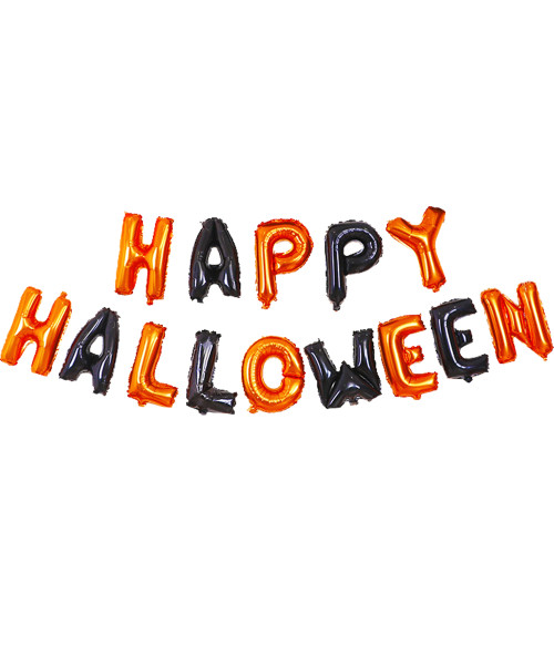 "[Halloween] 16"" Happy Halloween Alphabet Foil Balloons Banner - Orange & Black"