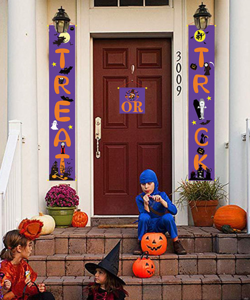 [Halloween] Happy Halloween Vertical Trick Or Treat Banner (1.5 Meter) - Purple