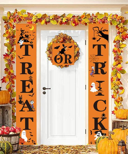 [Halloween] Happy Halloween Vertical Trick Or Treat Banner (1.5 Meter) - Orange