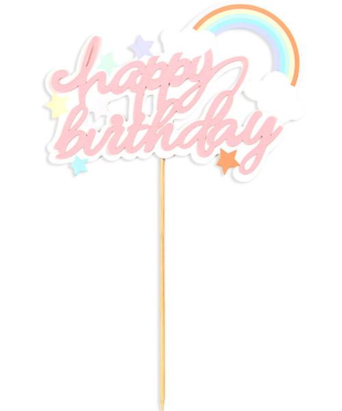 Happy Birthday Rainbow Cake Topper - Pastel Pink