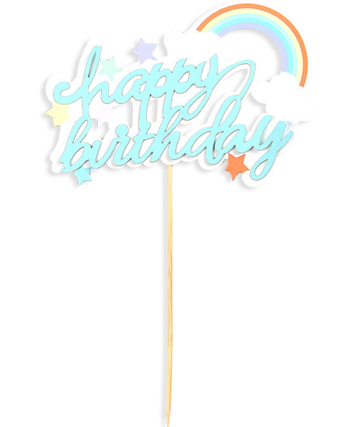 Happy Birthday Rainbow Cake Topper - Pastel Blue