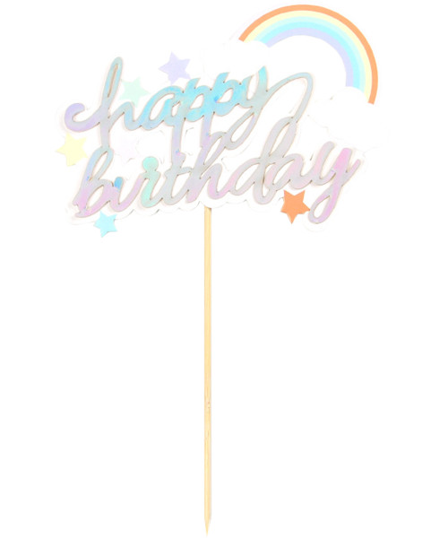 Happy Birthday Rainbow Cake Topper - Iridescent