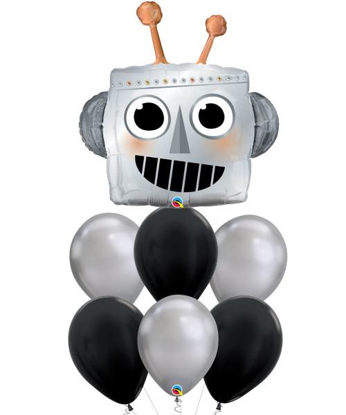 [Party] Robot Head Chrome Silver Foil Balloons Bouquet