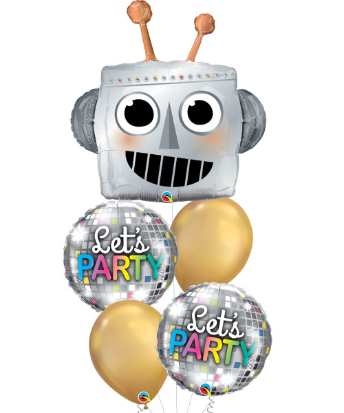 [Party] Robot Let's Party Disco Balloons Bouquet
