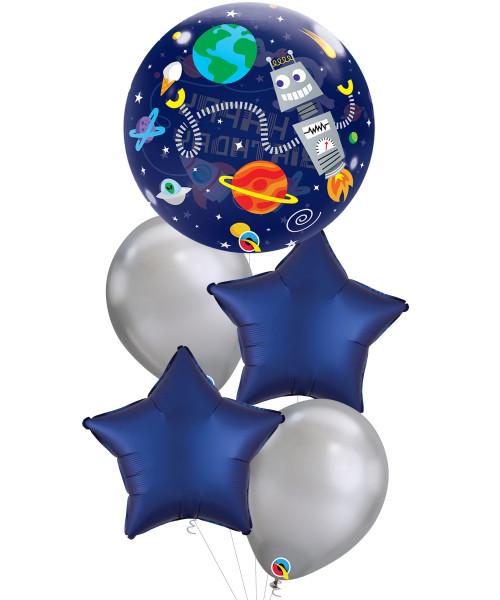 [Astronaut] Birthday Outer Space Bubble Satin Luxe Navy Star Bubble Balloons Bouquet