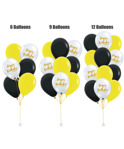 (Create Your Own Helium Bouquet) 12'' Transparent Birthday Brush Script Balloon Cluster - Fashion Color