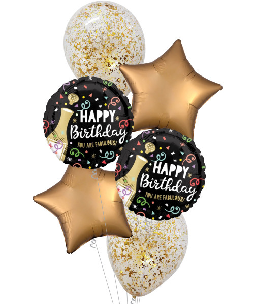 [Beverage] Happy Birthday Gold Bubbly Gold Sateen Star Balloons Bouquet