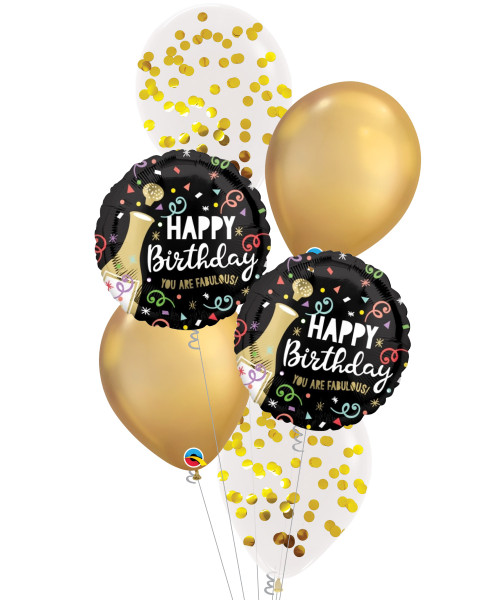 [Beverage] Happy Birthday Gold Bubbly Chrome Gold Balloons Bouquet
