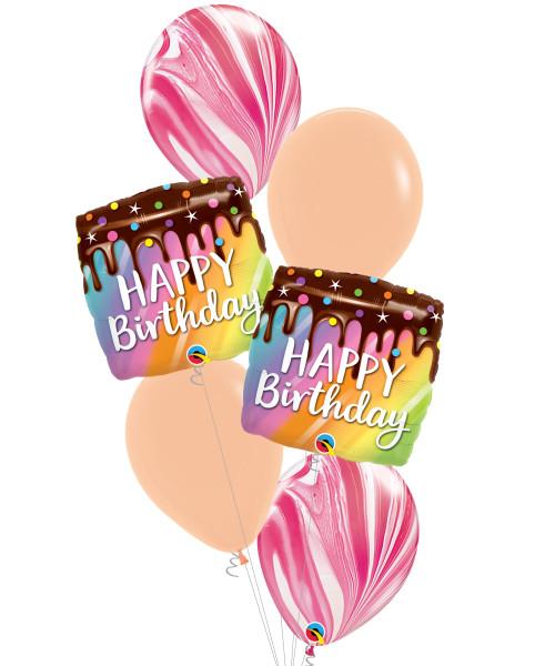 [Dessert] Birthday Rainbow Drip Cake Strawberry Marble Balloons Bouquet