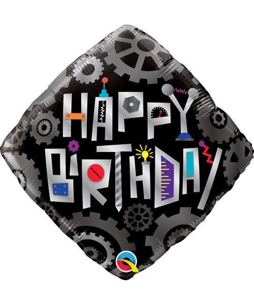 [Robot] Birthday Robot Cogwheels Diamond Foil Balloon (18inch)