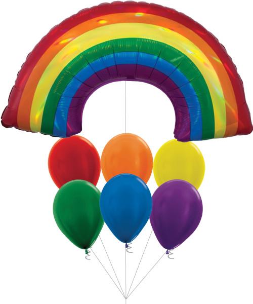 [Party] Iridescent Rainbow Vibrant Latex Balloons Bouquet